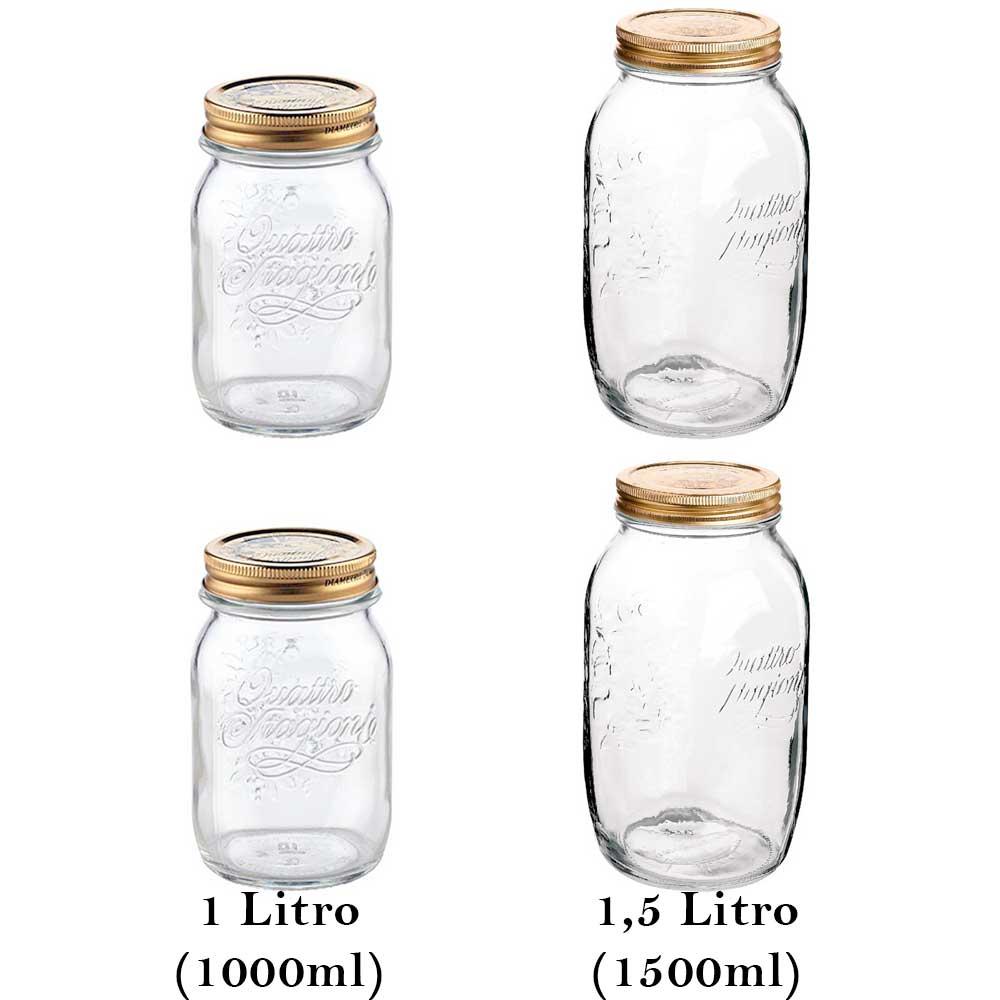 4 Potes Grandes herméticos de vidro Quattro Stagioni Bormioli Rocco para compotas, conservas, legumes e frutas