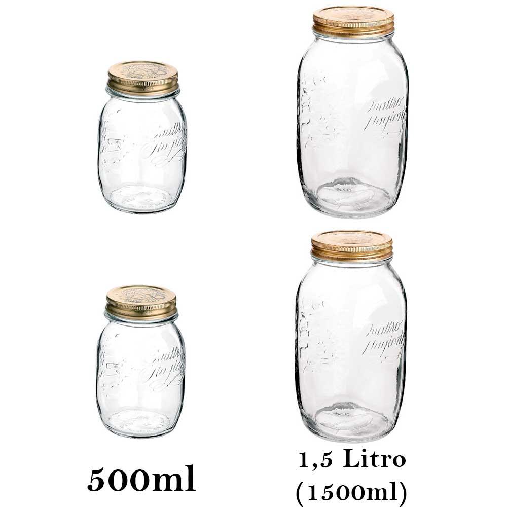 4 Potes herméticos de vidro Quattro Stagioni Bormioli Rocco para papinhas, compotas, conservas, legumes e frutas