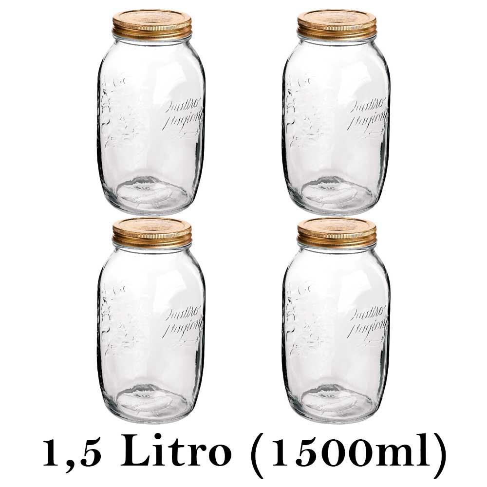 4 Potes herméticos grandes Quattro Stagioni 1,5 Litro (1500ml) Bormioli Rocco para conservação de alimentos