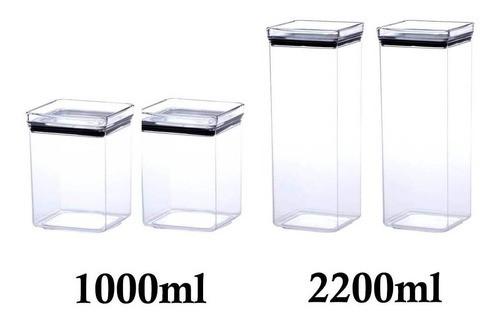 4 Potes Herméticos quadrado 1000ml e 2200ml para armazenamento de alimentos