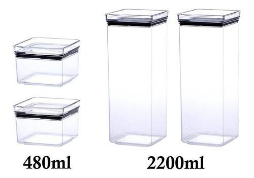 4 Potes Herméticos quadrado 480ml e 2200ml para armazenamento de alimentos