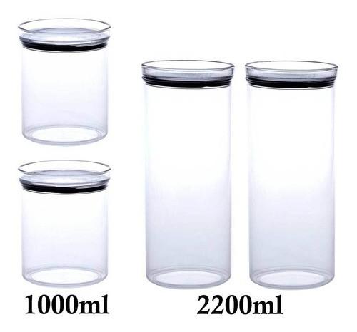 4 Potes Herméticos Redondo 1000ml e 2200ml para armazenamento de alimentos