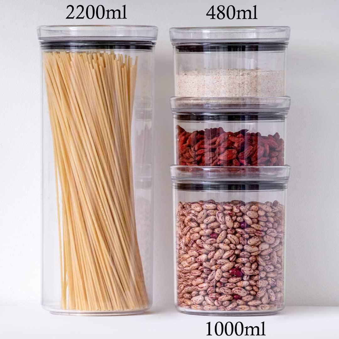 4 Potes Herméticos Redondo 480ml e 2200ml para armazenamento de alimentos
