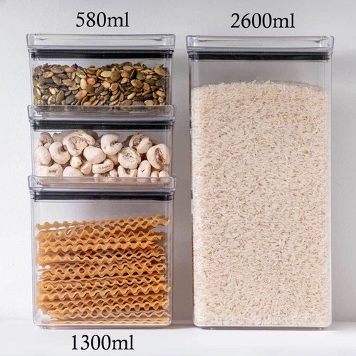 4 Potes Herméticos Retangular 580ml e 1300ml para armazenamento de alimentos