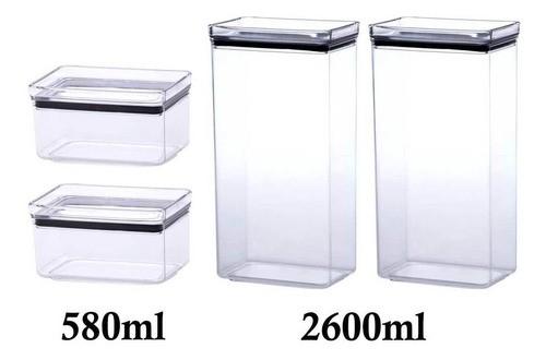 4 Potes Herméticos Retangular 580ml e 2600ml para armazenamento de alimentos