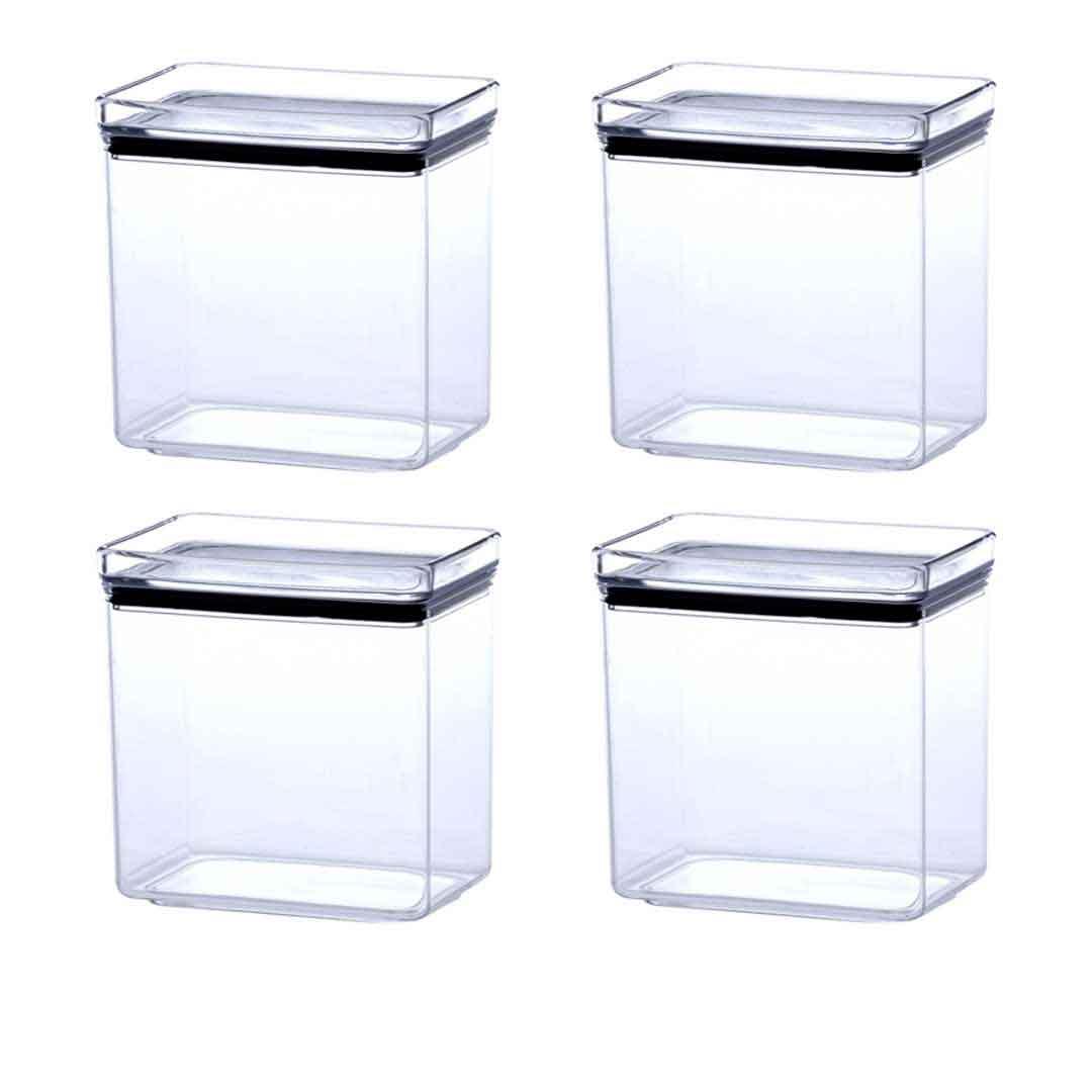 4 Potes Herméticos Retangular Empilháveis 1300ml para armazenamento de alimentos