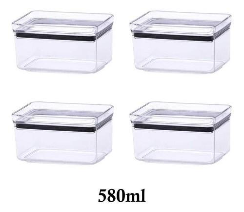 4 Potes Herméticos Retangular Empilháveis 580ml para armazenamento de alimentos