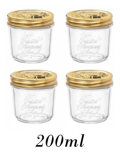 4 Potes Quattro Stagioni 200ml de vidro hermético Bormioli Rocco para papinhas, compotas, doces caseiros e conservas