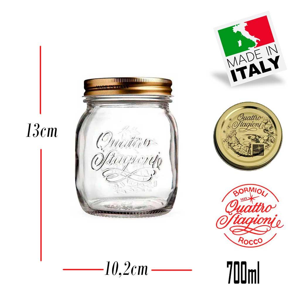 4 Potes Quattro Stagioni 700ml de vidro com fechamento hermético Bormioli Rocco para conservação de alimentos