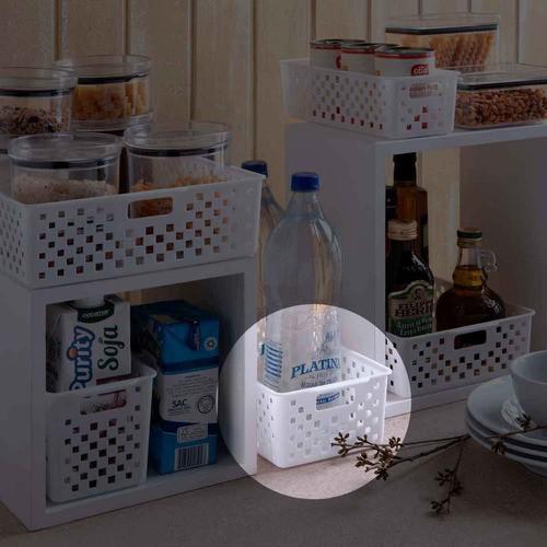 5 Cestas Organizadoras Quadratta branco para gavetas, armários, lavanderias, cozinha, banheiro, quarto