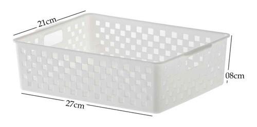 5 Cestos Organizadores Quadratta branco para gavetas, armários, lavanderias, cozinha, banheiro, quarto