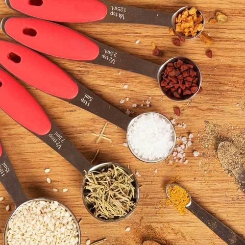 5 colheres medidoras e dosadoras uso doméstico e profissional
