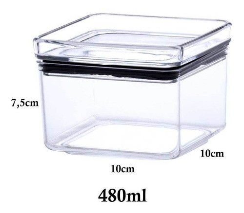 5 Potes Herméticos quadrado empilháveis 480ml para armazenamento de alimentos