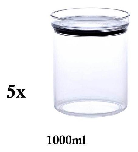 5 Potes Herméticos Redondo Empilháveis 1000ml para armazenamento de alimentos