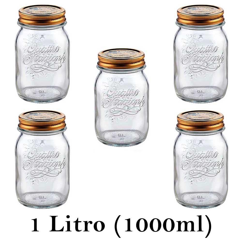 5 Potes Quattro Stagioni 1 Litro (1000ml) de vidro com fechamento hermético Bormioli Rocco para conservação de alimentos