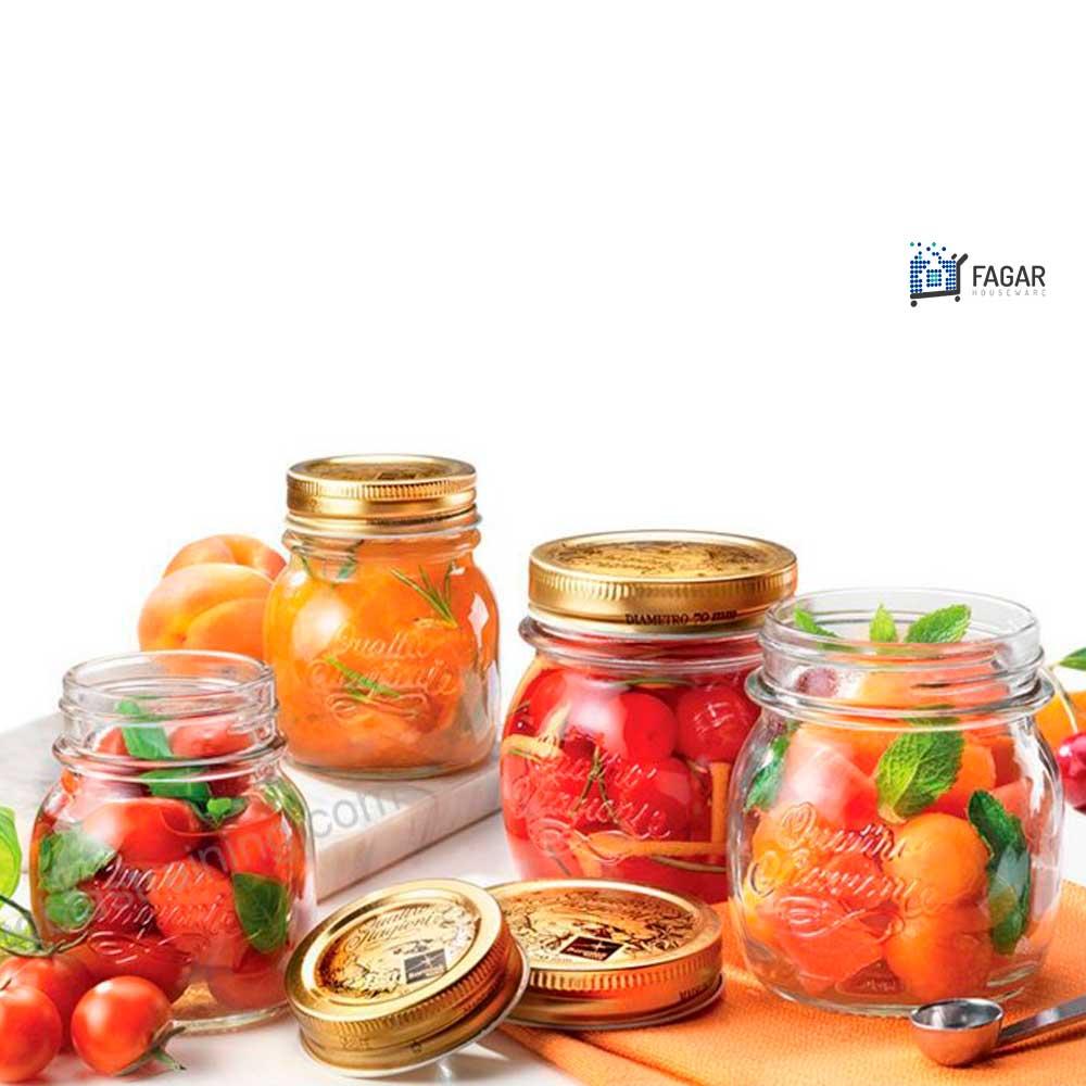 5 Potes Quattro Stagioni 700ml de vidro com fechamento hermético Bormioli Rocco para conservação de alimentos
