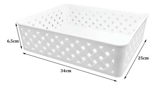 6 Cestas organizadoras Grande Rattan Branco para armários e gavetas