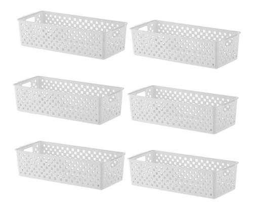 6 Cestas Organizadoras Quadratta branco para gavetas, armários, lavanderias, cozinha, banheiro, quarto