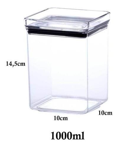 6 Potes Hermético quadrado empilhável 1000ml para armazenamento de alimentos