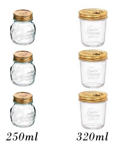 6 Potes herméticos de vidro Quattro Stagioni  Bormioli Rocco para papinhas, geleias, compotas, doces e conservas