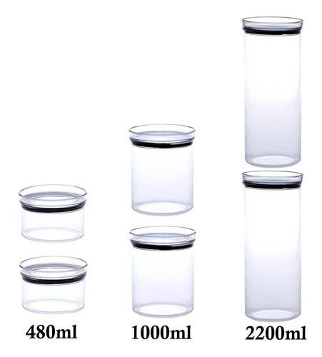 6 Potes Herméticos Redondo 480ml, 1000ml e 2200ml para armazenamento de alimentos