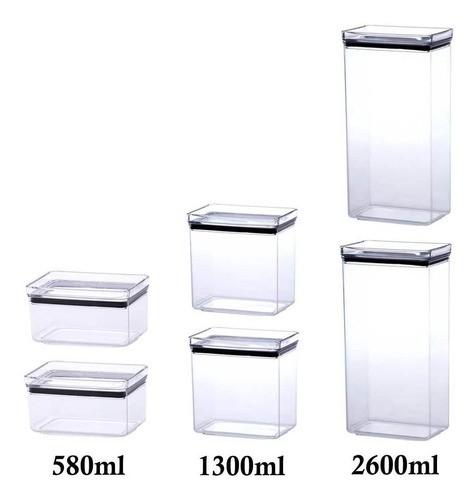 6 Potes Herméticos Retangular 580ml 1300ml e 2600ml para armazenamento de alimentos