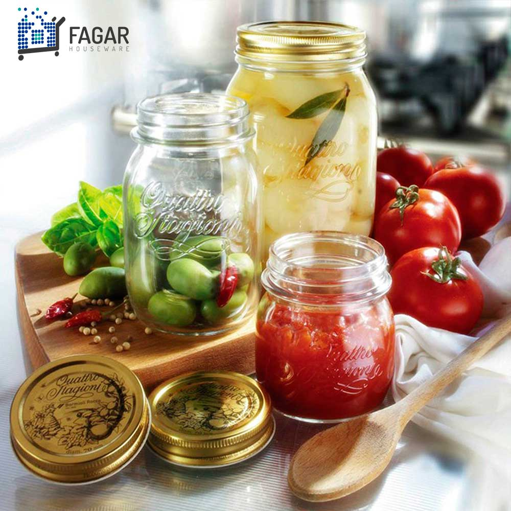 6 Potes Quattro Stagioni 1 Litro (1000ml) de vidro com fechamento hermético Bormioli Rocco para conservação de alimentos