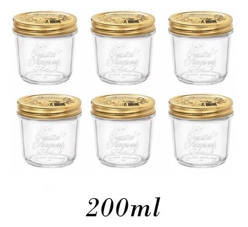 6 Potes Quattro Stagioni 200ml de vidro hermético Bormioli Rocco para papinhas, compotas, doces caseiros e conservas