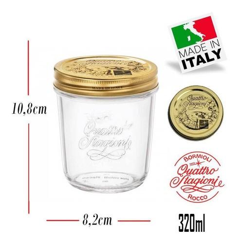 6 Potes Quattro Stagioni 320ml de vidro hermético Bormioli Rocco para papinhas, compotas, doces caseiros e conservas