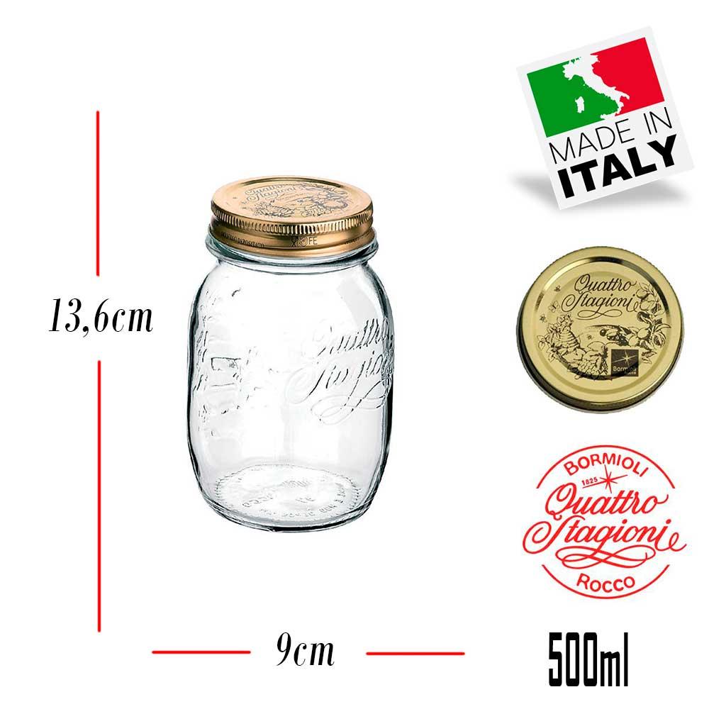 6 Potes Quattro Stagioni 500ml de vidro com fechamento hermético Bormioli Rocco para conservação de alimentos