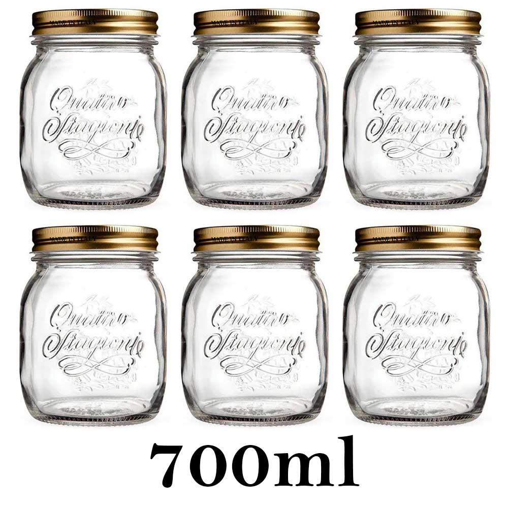 6 Potes Quattro Stagioni 700ml de vidro com fechamento hermético Bormioli Rocco para conservação de alimentos