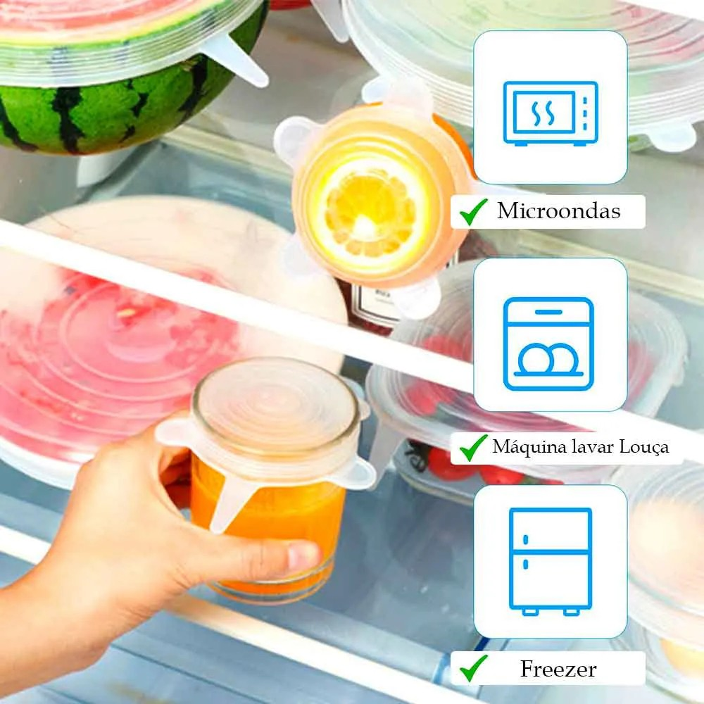 6 Tampas de Silicone para Potes Frascos Frutas Reutilizáveis e Elásticas