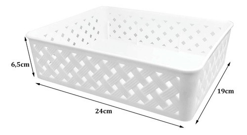 Cesta organizadora médio Rattan Branco para armários e gavetas
