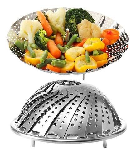 Cesto de Inox para Cozimento A Vapor de Legumes Vegetais Alimentos 23cm