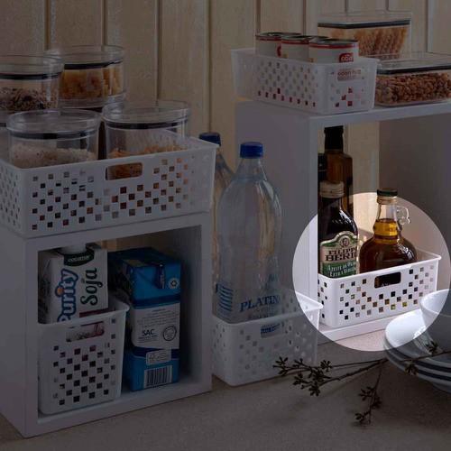 Cesto Organizador Quadratta branco para gavetas, armários, lavanderias, cozinha, banheiro, quarto