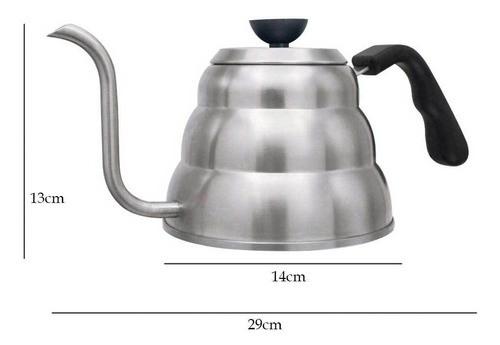 Chaleira Inox Bico fino 1 Litro pescoço de ganso para café e chás