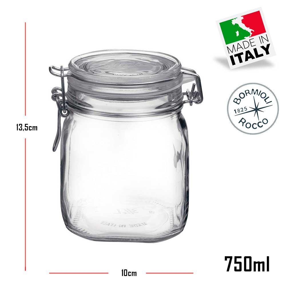 Jogo com 4 Potes de vidro hermético Fido Rocco Bormioli - 2 500ml + 2 750ml com tampa para armazenamento