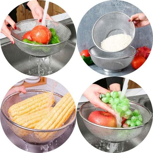 Escorredor Inox Multiuso 25cm para Arroz, feijão, massas, frutas e legumes