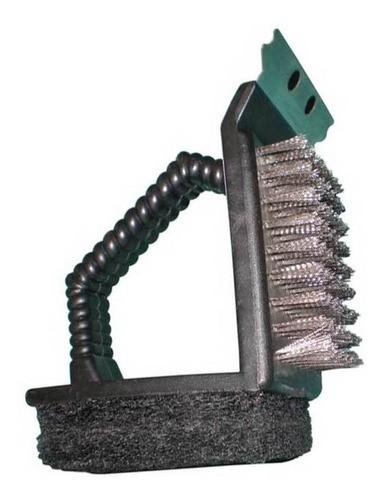 Escova de aço com esponja e espátula de metal para limpeza de grelha, grill e churrasqueira 3x1