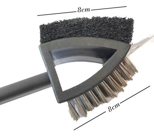 Escova longa com escova de metal e esponja de nylon para grelha e grill de churrasqueira