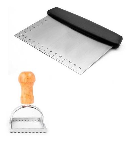 Espátula, raspador e cortador de inox para massas e recortador ravioli quadrado 7cm