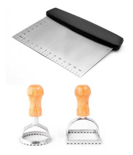 Espátula, raspador e cortador de inox para massas e recortador ravioli redondo e quadrado