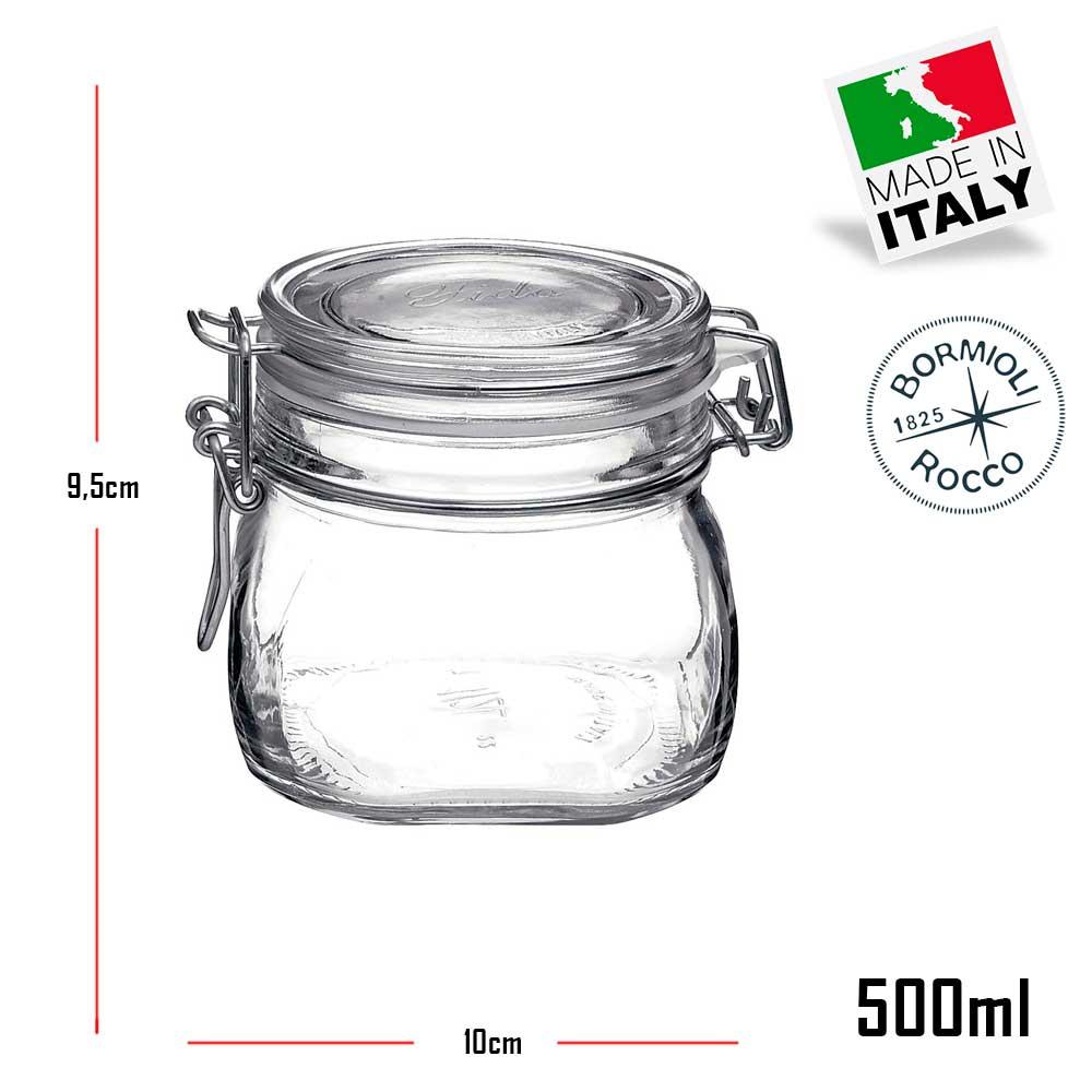 4 Potes de vidro hermético com tampa Fido Rocco Bormioli - 2 500ml + 2 1000ml (1 Litro) para armazenamento