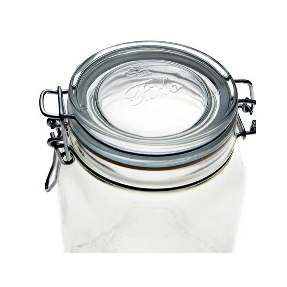 Jogo com 4 Potes de vidro com tampa hermético de 500ml Fido Rocco Bormioli
