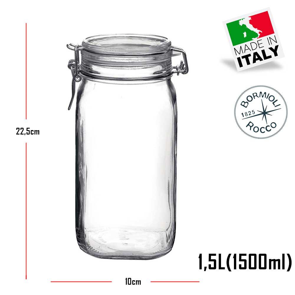 Jogo de 4 Potes grandes Fido Rocco Bormioli de vidro com tampa hermética - 2 1000ml + 2 1500ml (1,5 Litro)