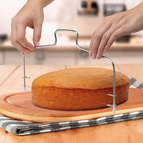 Nivelador, cortador e fatiador bolos, tortas com fio duplo Inox ajustável para confeitaria