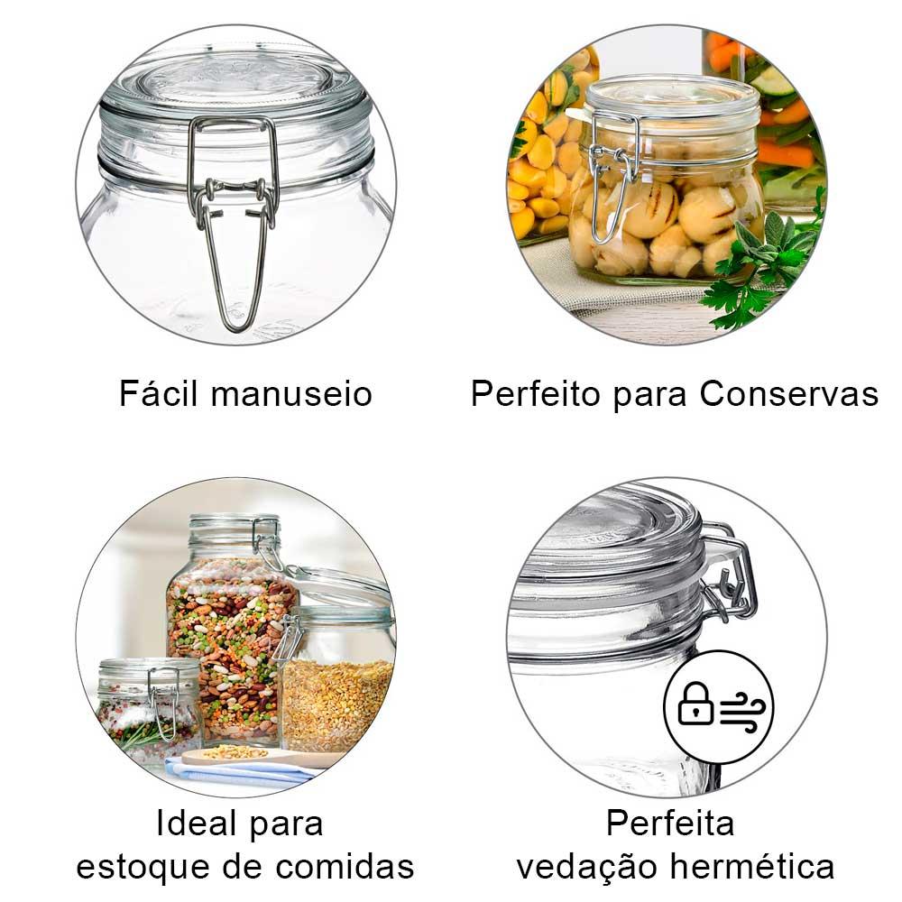 Pote hermético quadrado 1,5 Litro (1500ml) Fido Rocco Bormioli de vidro transparente com tampa para armazenamento de alimentos
