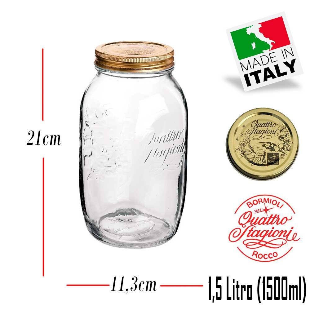 Pote hermético grande Quattro Stagioni 1,5 Litro (1500ml) de vidro Bormioli Rocco para conservação de alimentos