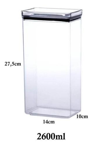 Pote Hermético Retangular Empilhável 2600ml para armazenamento de alimentos
