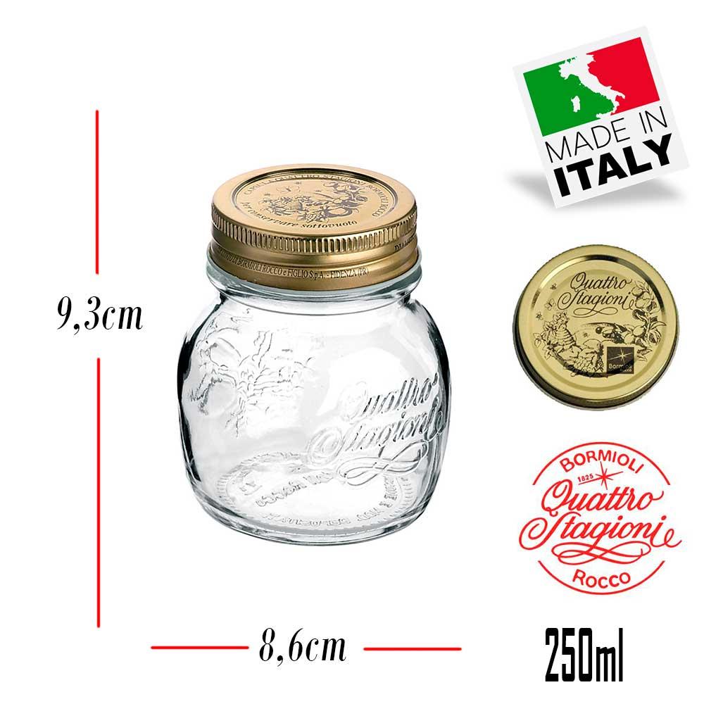 Pote Quattro Stagioni 250ml de vidro com fechamento hermético Bormioli Rocco para papinhas e conservação de alimentos